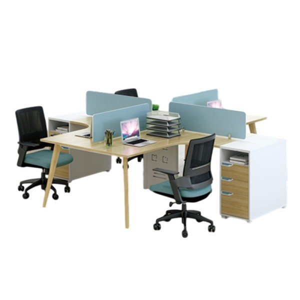 4-Person Office Screen Workstation Office Desk With File Cabinet(YM-06W2828)