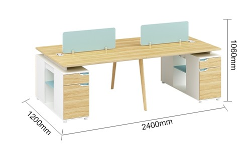 4-Person Office Blue Screen Workstation Office Desk With File Cabinet(YM-04W2412)