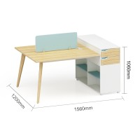 2-Person Office Screen Workstation Office Desk With File Cabinet(YM-05W1512)