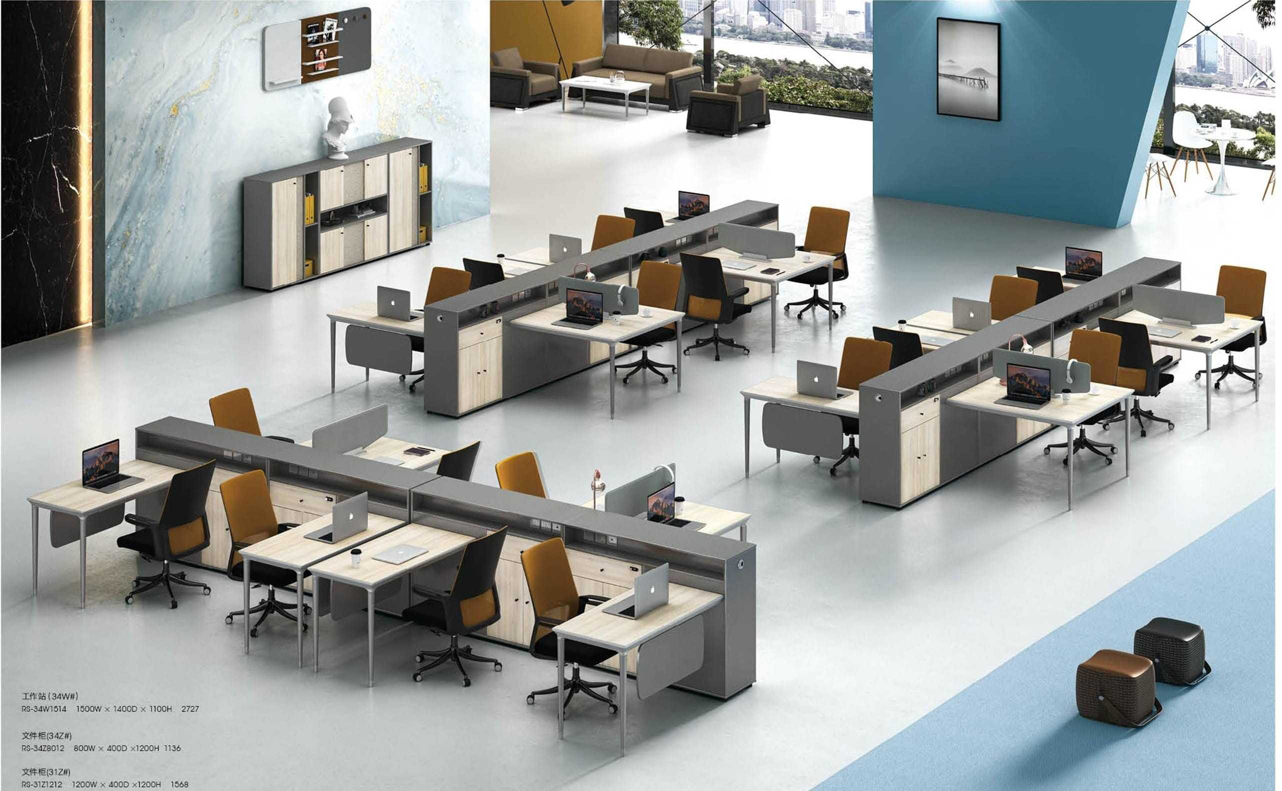 1-Person Office Workstation With File Cabinet(RS-34W1514)