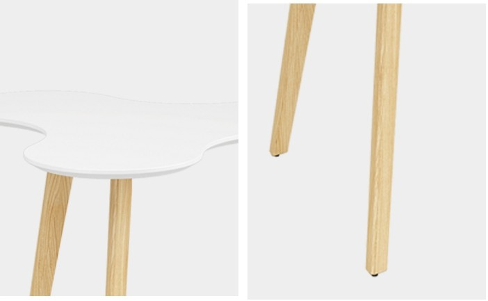 Wholesale 3 person triangular table with solid wood legs(YM-03Q111)