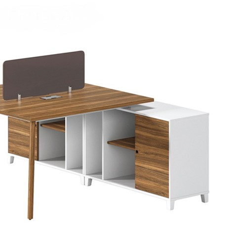 2-Person Office Screen Workstation Office Desk With File Cabinet(DS-02W1420)