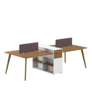 4-Person Office Screen Workstation Office Desk With File Cabinet(DS-04W2712)