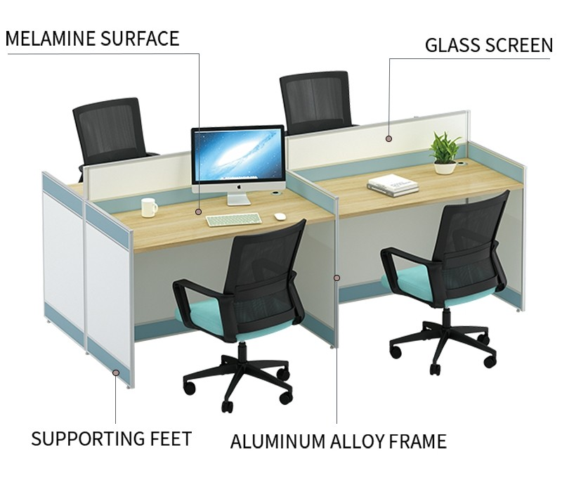 4-Person Office Screen Workstation Staff Table With File Cabinet (KW-20C2412)