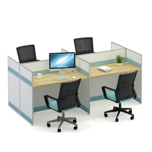 4-Person Office Screen Workstation Staff Table With File Cabinet ( KW-20C2412)