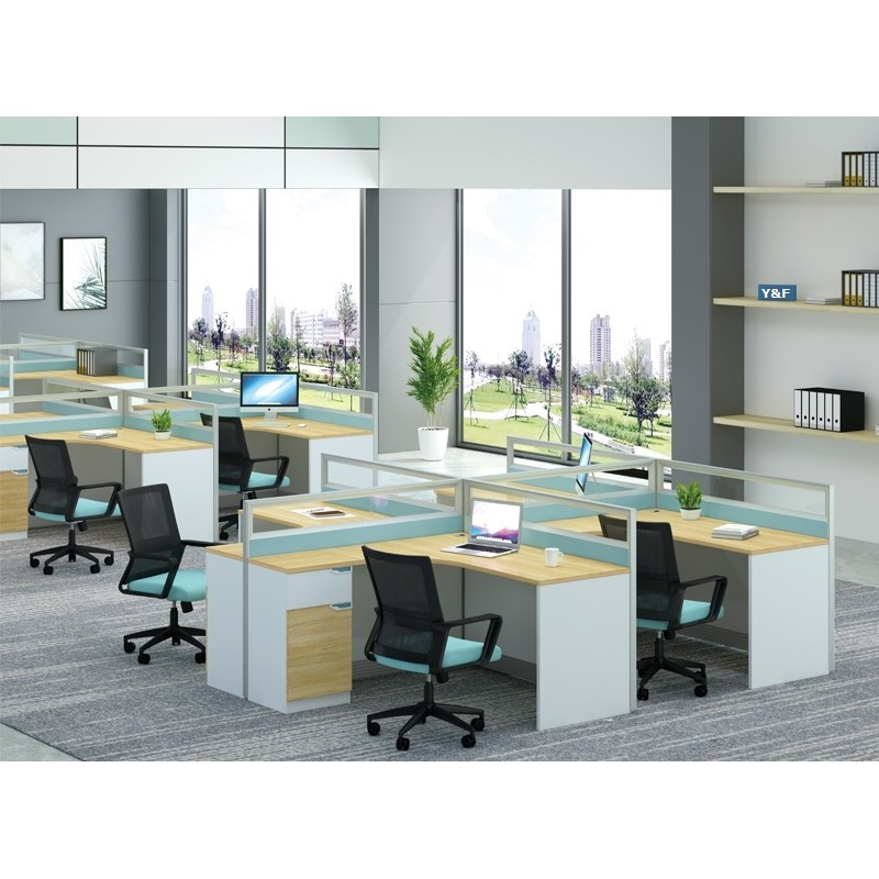 4-Person Office Screen Workstation Staff Table With File Cabinet ( KW-40BC2828)
