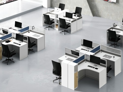 4-Person Office Screen Workstation Staff Table With File Cabinet (KW-30W2828)