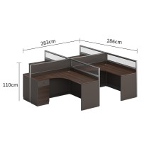 4-Person Office Screen Workstation Staff Table With File Cabinet (KW-31W2828)