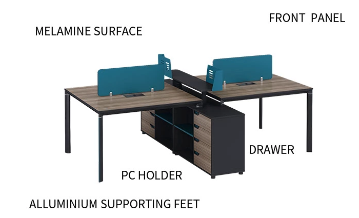 4-Person Office Screen Workstation With File Cabinet(LT-04W2620)