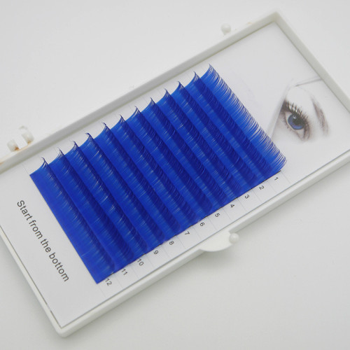 Veteran sky color  eyelash extension with wholesale custom lash packaging