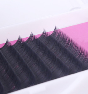 Veteran synthetic mink false flat eyelashes extension trays with plastic box