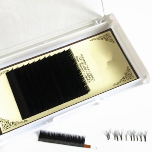 China eyelash manufacturer premade volume fans individual eyelash extension trays with box diamond