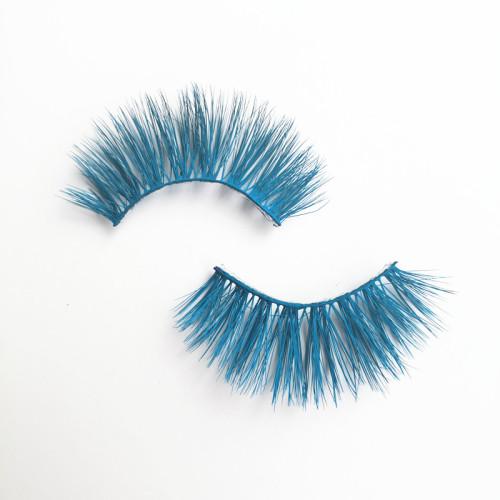 Qingdao Veteran colorful blue real mink eyelash wholesale with mink eyelash round box