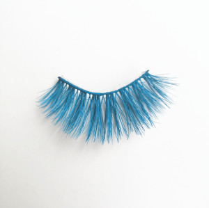 Qingdao Veteran colorful blue real mink eyelash wholesale with mink eyelash round box