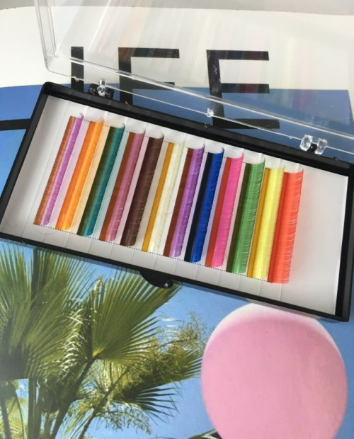 Korean colorful PBT false eyelash private label eyelash extensions with eyelash packaging box