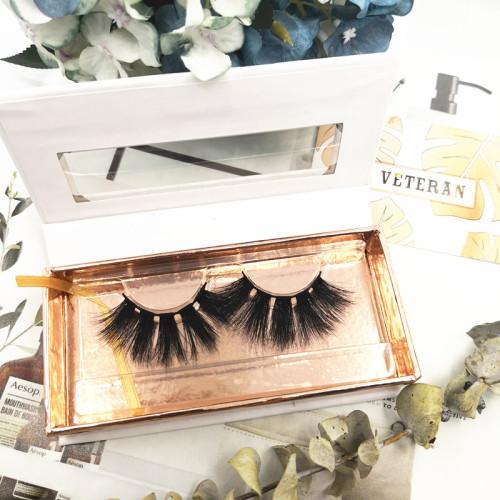 Qingdao Veteran  long eyelashes 25mm private label 5d mink false eyelashes with empty box for eyelashes