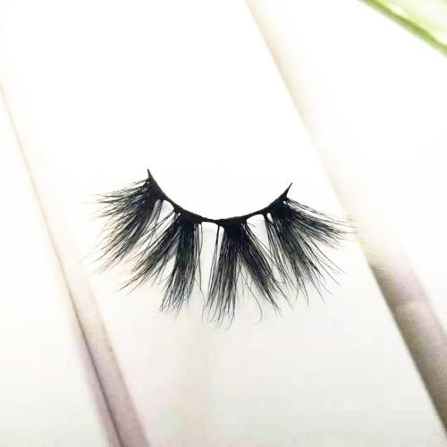 Qingdao Veteran 100% mink 25mm eyelashes private label with false eyelashes packaging cardboard box