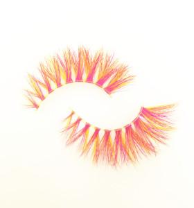 Qingdao Veteran colorful logo premium full strip 3d mink eyelashes with custom eyelash packaging box