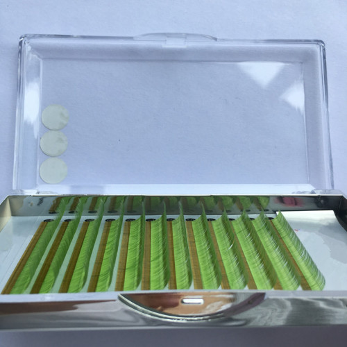 China factory green eyelashes extension colour professional private label with packaging box