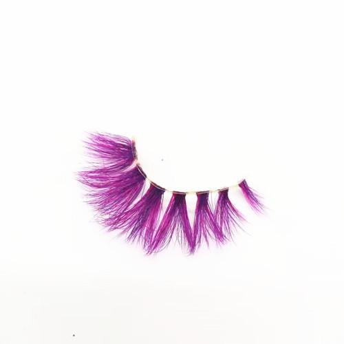 coloured mink false eyelashes private label own logo mink eyelash hot pink triangle packaging case