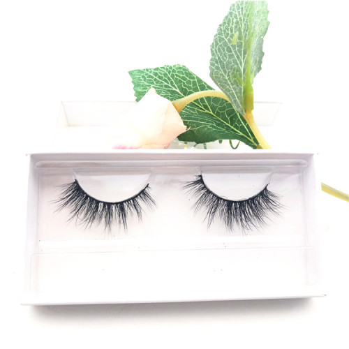 natural length  faux mink fur strip eyelashes clear invisible band mink eye lashes