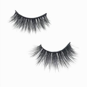 Black Cotton Band 3D Mink Fur Long Thick Mink Strip Private Label Natural Makeup Mink Eyelashes