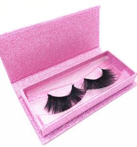 Cruelty free 3d mink eyelashes private label eyelash box pink glitter custom eyelash packaging