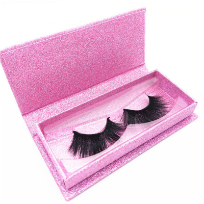 Cruelty free 3d mink eyelashes private label eyelash box pink glitter custom eyelash packaging