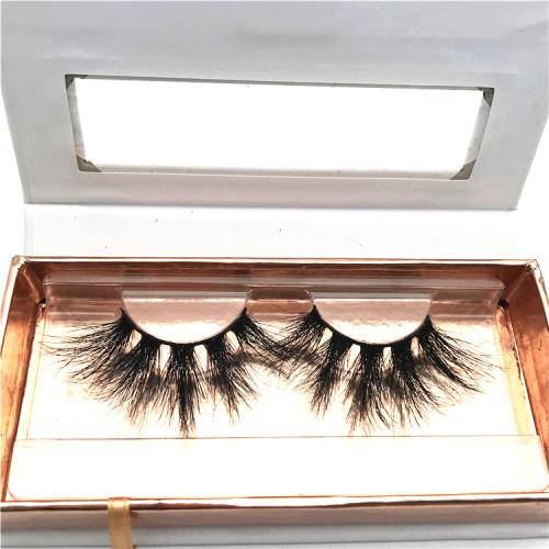 100% mink fur wholesale  full strip extra long mink lashes 25mm eyelashes with custom box