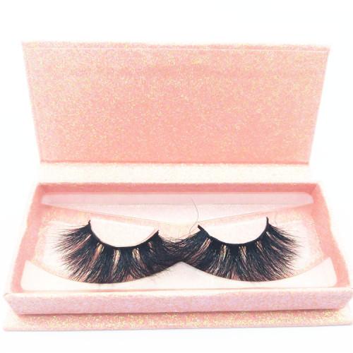 25mm mink dramaric strip eyelash with popular custom eyelash box,5D mink lashes vendors
