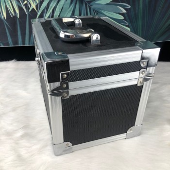 Company The butterfly Two-way lock Aluminum Case Shockproof instrument box black Aluminum Carrying Tool Case