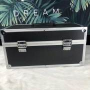 portable black Aluminum Case Shockproof instrument box Aluminum Carrying Tool Case Lined with partition