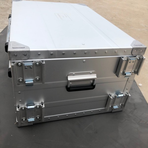 Silver Carrying Case Pure Aluminum Tool Case Metal Box with EVA foam wheels pull rod for equipments