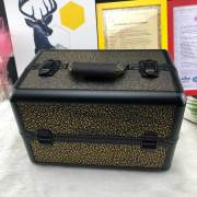 2019 Professional aluminum alloy double open multi-layer traveling make up case Golden pattern for sales