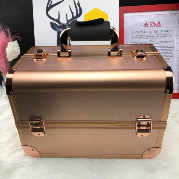 Fashion rose gold aluminum alloy double open multi-layer traveling make up case