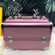 High quality fashion portable pink make up aluminum case vanity cosmetics box for sales