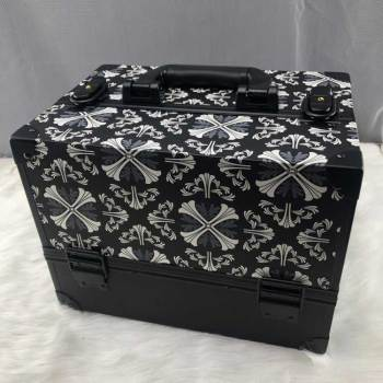 Black decorative pattern make-up aluminum cosmetics box, Aluminum frame beauty cosmetic box, Travel beauty box makeup