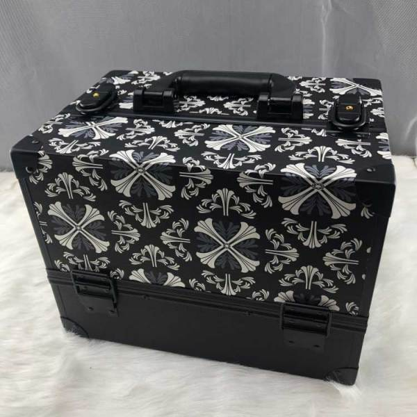 Black decorative pattern make-up aluminum cosmetics box, Aluminum frame beauty cosmetic box, Travel beauty box makeup