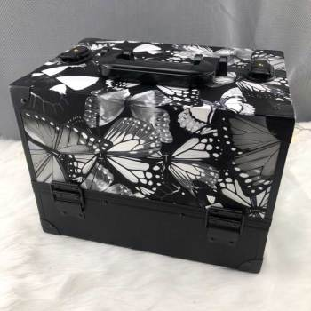2019 new style Dragonflies butterflies PU aluminum makeup case cosmetic portable case Travel beauty case/box makeup