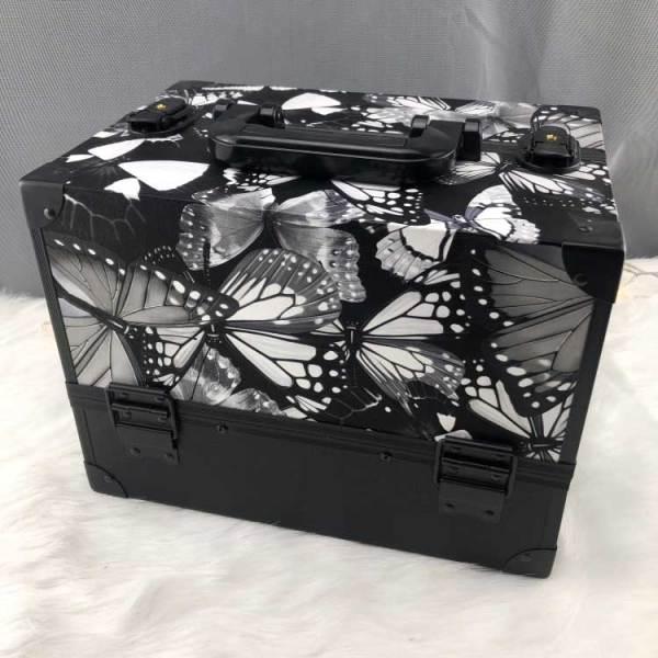2019年新款蜻蜓蝴蝶PU铝合金化妆盒化妆便携包旅行美容盒/盒妆