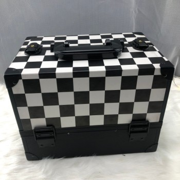 Black and white case grain make-up aluminum cosmetics box Travel beauty box makeup frame beauty cosmetic box