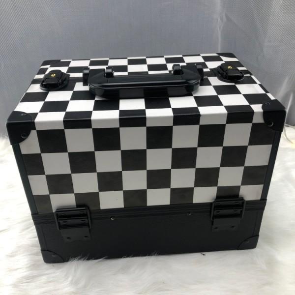 黑白格纹化妆铝化妆品盒旅行美容盒化妆框美容化妆品盒