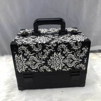 2019 new style Black and white pattern PU make-up aluminum cosmetics case Travel beauty case makeup case