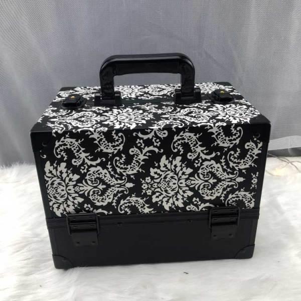 2019年新款黑白花纹PU化妆铝化妆箱旅行美容箱化妆箱