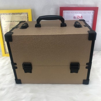 2019 new style golden yellow cosmetic aluminum case leather case beauty box for dresser nail technician cosmetologist