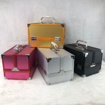 Factory Large processing Solid-colored portable aluminum alloy box cosmetic aluminum case beauty box for sales