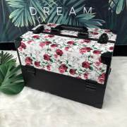 2019 new style PU leather flower patten black aluminum make-up case&box&kit with straps tray for retail