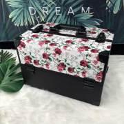 2019 neue Art PU-Leder Blume Patten schwarz Aluminium Make-up Fall & Box & Kit mit Trägern Fach für den Einzelhandel