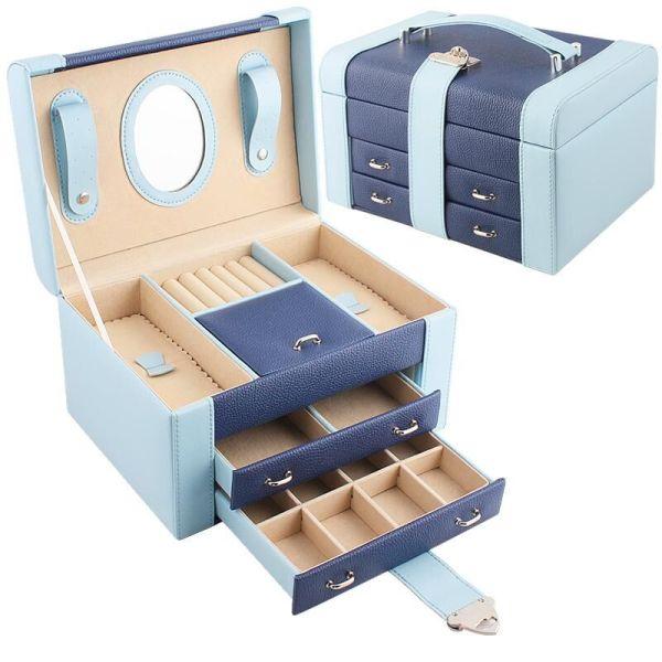 青岛定制手提便携式蓝色化妆盒带镜子抽屉