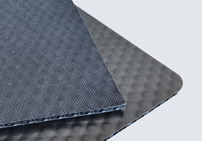 PP bubble board with low density fabric